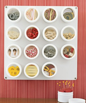 Spice containers used to hold office supplies