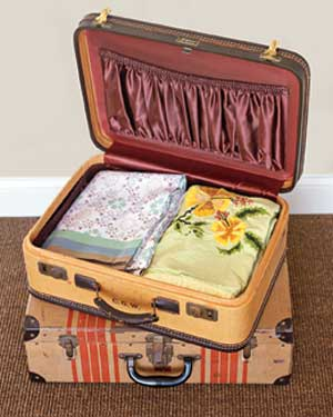 Table linens in a suitcase