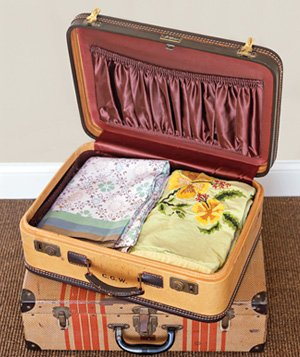 Suitcase used to store seasonal clothes