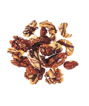 Chocolate drizzled nuts