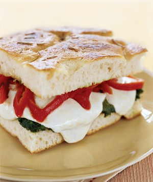 Mozzarella, Roasted Red Peppers, and Pesto on Focaccia