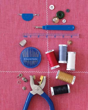 Thread, sewing needles and buttons