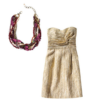 Gold Tibi dress and burgundy Sequin necklace