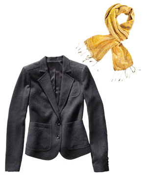 Gray Club Monaco jacket and gold Anu by Natural scarf