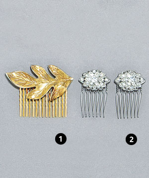 Black Satin Shoes gold leaf comb and Pemberley Collection rhinestone combs