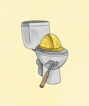 1 Toilet, 2 Hard Hats, and 3 Hammers