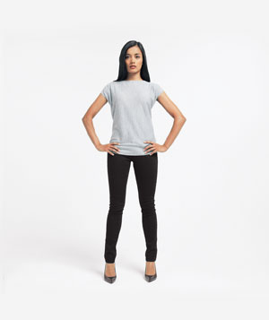 Model standing with legs apart