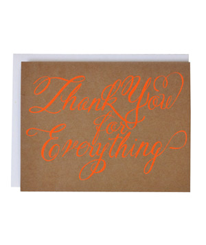 Neon Orange Thank You for Everything Card