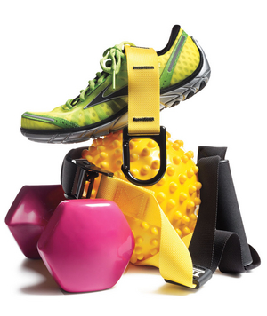 Brightly colored fitness equipment