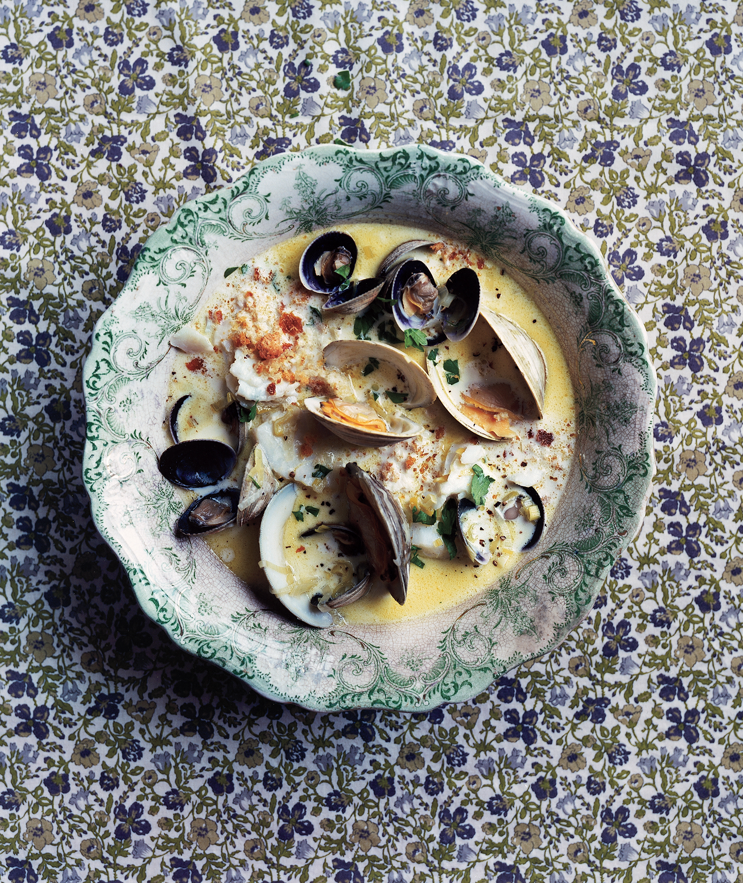 Seafood Chowder With Crispy Bread Crumbs