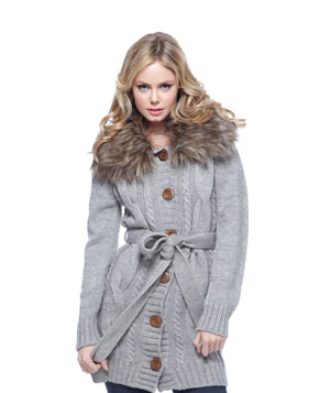 Faux Fur Trim Cardigan by Forever 21
