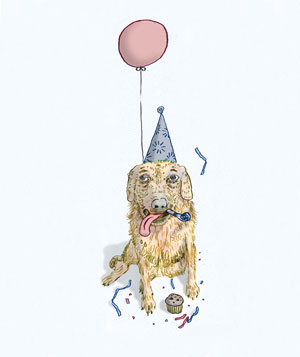 Dog with balloon illo
