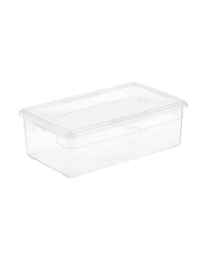 Christmas decor storage, clear boxes