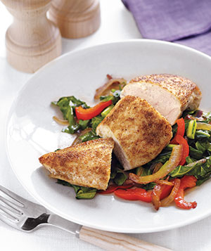 Spiced Chicken With Sauteed Collards and Peppers