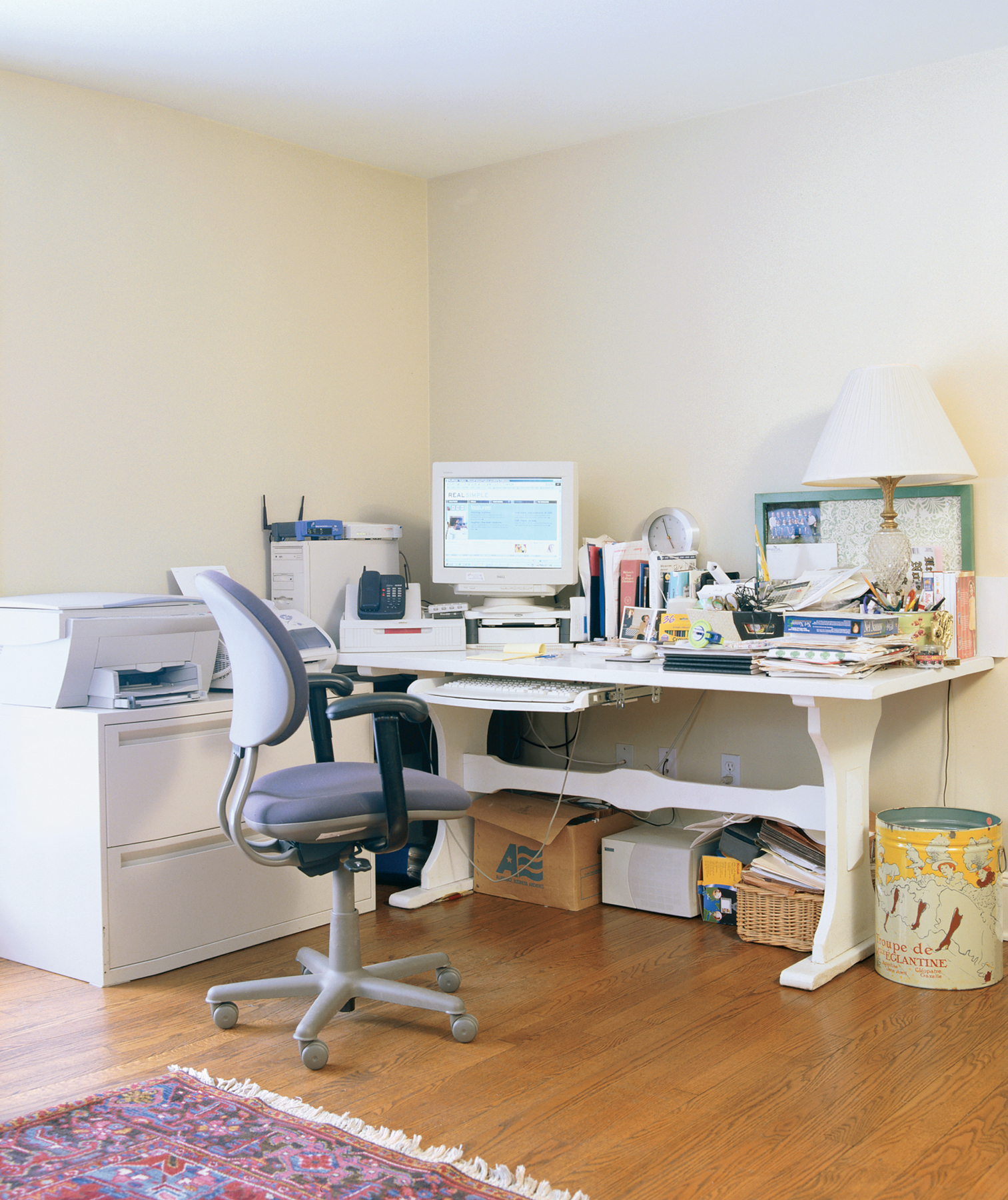 A cluttered home office