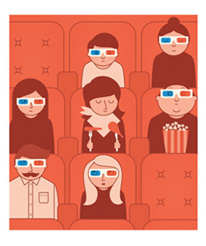 Illustration of people in cinema wearing 3D glasses, one person eating dinner