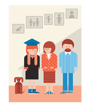 Illustration of 2 parents and thier daughter in a graduation cap and gown