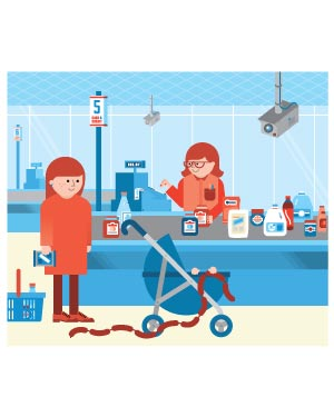 Illustration of a woman in a grocery store with a stroller