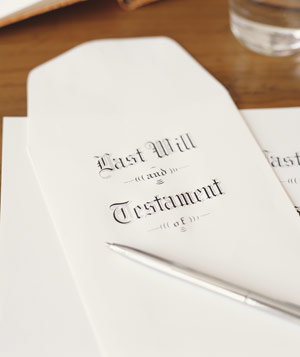 Last will and testament with silver pen