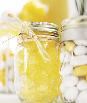 Yellow and white candy jars
