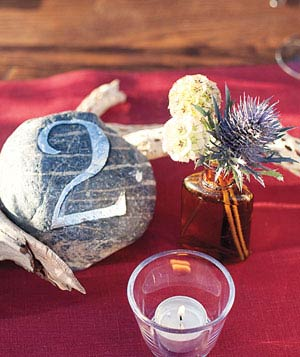 Rocks with painted table numbers