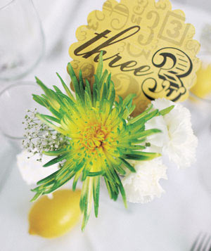 Table number with flower