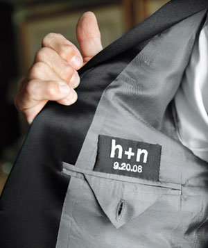 Groomsmens suit with custom label