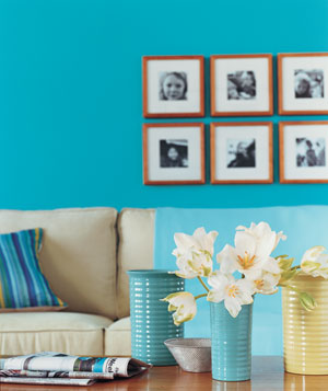 Photographs hung as a gallery on wall
