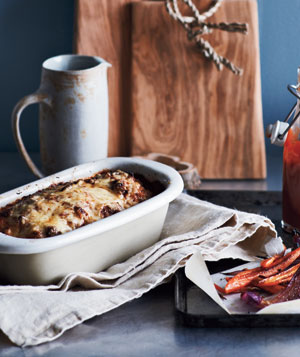 Bacon-Gruyère Meat Loaf With Roasted Carrots and Onions