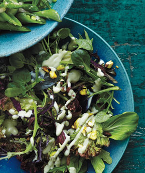 Spring Lettuces With Avocado Dressing and Pistachios