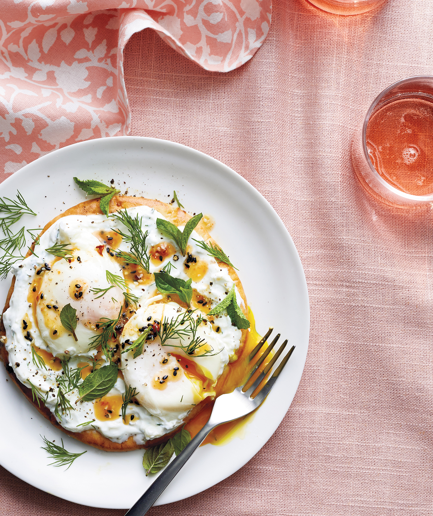 Poached Eggs With Chile Butter and Yogurt