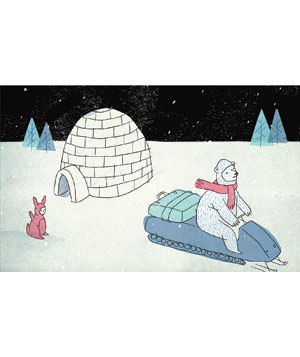 Bear on snowmobile with igloo and rabbit illustration