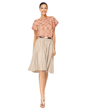 Model wearing Mango skirt with The Limited top