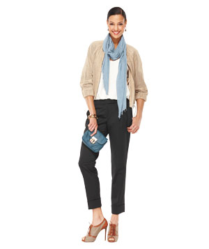 Model wearing Joie shell, Magaschoni pants, and The Limited top