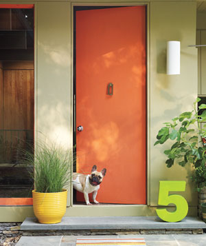 Modern doorway with orange door and dog