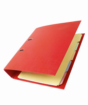 Red binder with dividers