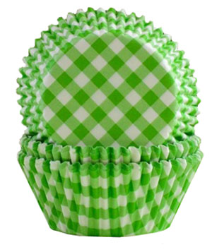 Grass Green Gingham Cupcake Liners
