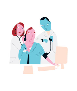 Illustration of a man at work being examined by 2 doctors