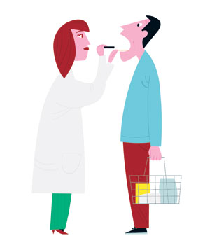 Illustration of doctor looking into mouth of patient with a grocery basket