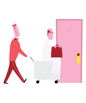 Illustration of a doctor and bellhop at a hotel room door