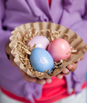 Personalized Easter eggs in coffee filter egg nest