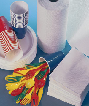 Paper plates, paper towels, colored plastic utensils and cups