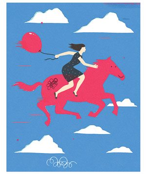 Illustration of woman with a red balloon riding a red horse in the sky with clouds