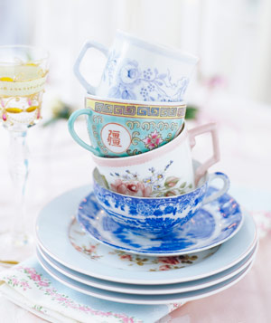 Decorative china tea cups