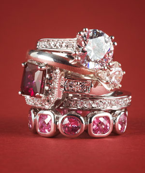 Stack of jeweled rings