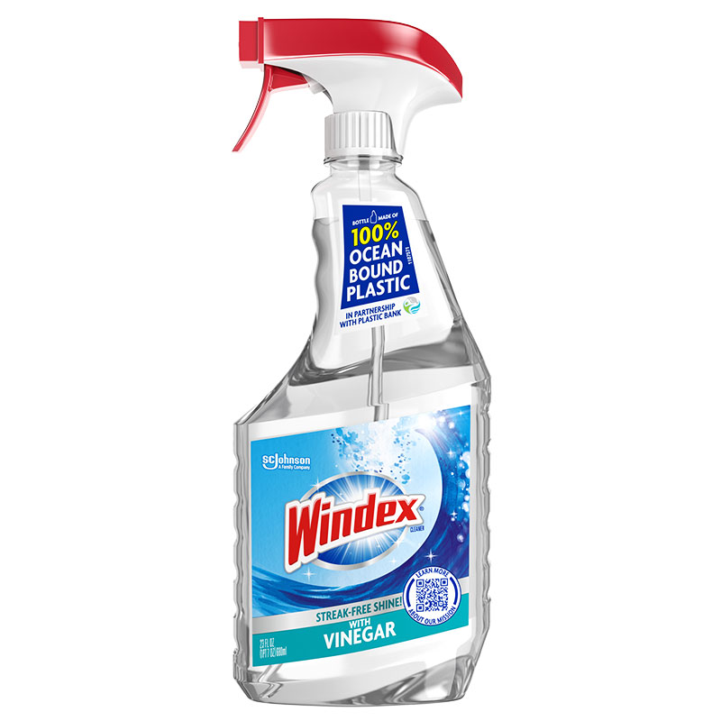 Green Cleaning Products: Windex With Vinegar in 100% Ocean Bound Plastic Bottles