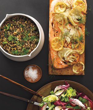 Plank-Grilled Salmon, Wild Rice and Pine Nut Salad, and Greens With Radishes and Snap Peas