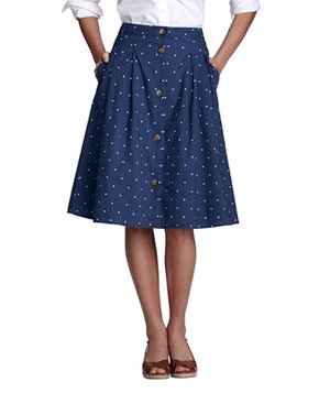 Lands' End Button-Front Pattern Skirt