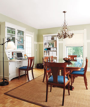 Organized office in a dining room