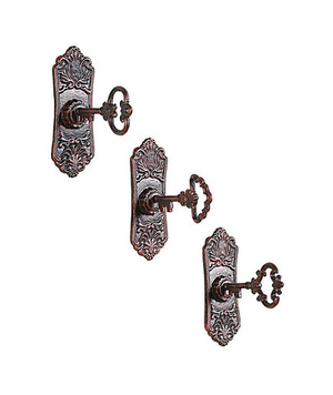 Cast-Iron Key-in-Lock Wall Hooks Set
